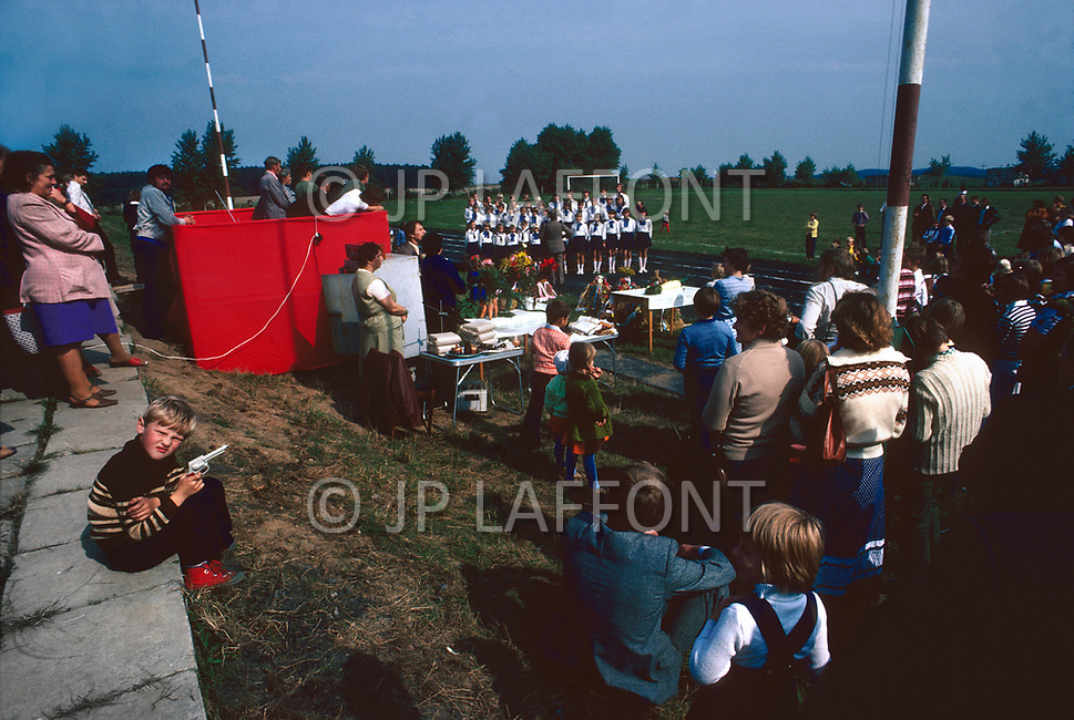 Poland, September, 1981 - Farmers and their families celebrate the end of harvest season with a festival in Trabki Wielkit, 30km South of Gdansk.