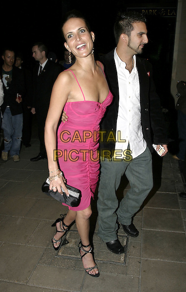 "SOPHIE ANDERTON & BOYFRIEND.""Wimbledon"" After Party, The Dorchester,London, September 20th 2004..full length fuschia pink dress funny face.Ref: AH.www.capitalpictures.com.sales@capitalpictures.com.©Capital Pictures."