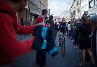 Chris Froome (GBR/SKY) to the start<br /> <br /> 79th Fl&egrave;che Wallonne 2015