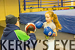 Coach Noel Kelleher with Chelsea Mungans at Tralee Boxing Club's new location in Monavalley on Monday