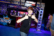 """August 29, 2010. Raleigh, North Carolina.. Justin Deese, ie  """"iGotUrPistola"""", of team Final Boss, celebrated after his team won the $20,000 Halo 3 purse.. Major League Gaming (MLG), the league for professional videogame players, held their 50th Pro Circuit competition at the Raleigh Convention Center, with gamers from all over the country coming to for 3 days of competition in Halo 3, Tekken 6, Super Smash Bros. Brawl, Starcraft 2 and World of Warcraft."""
