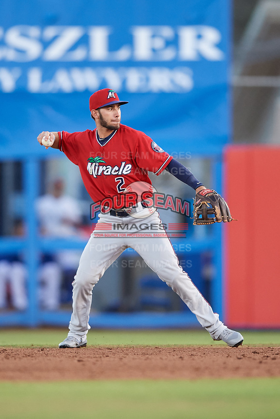 Fort Myers Miracle second baseman Alex Perez (2) throws to first base during a game against the Dunedin Blue Jays on April 17, 2018 at Dunedin Stadium in Dunedin, Florida.  Dunedin defeated Fort Myers 5-2.  (Mike Janes/Four Seam Images)