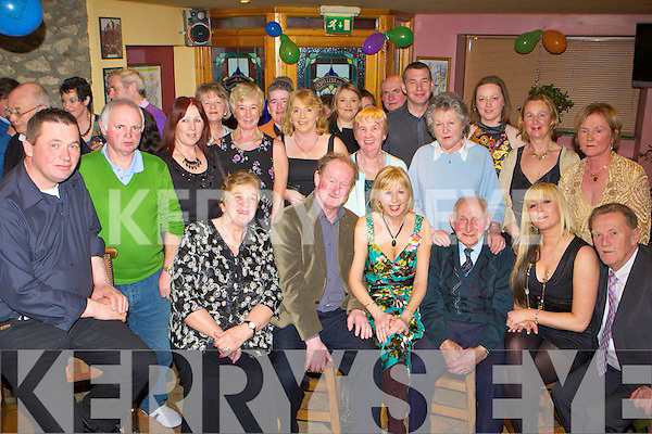 Margaret Murphy The Spa, Tralee seated centre celebrates her 50th birthday in the Half Barrell bar Castleisland on Saturday night with her family and friends .