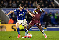 Leicester City's Caglar Soyuncu (left) competing with Aston Villa's Mbwana Samatta <br /> <br /> Photographer Andrew Kearns/CameraSport<br /> <br /> The Premier League - Leicester City v Aston Villa - Monday 9th March 2020 - King Power Stadium - Leicester<br /> <br /> World Copyright © 2020 CameraSport. All rights reserved. 43 Linden Ave. Countesthorpe. Leicester. England. LE8 5PG - Tel: +44 (0) 116 277 4147 - admin@camerasport.com - www.camerasport.com