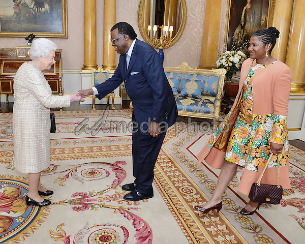 01 December 2016 - London, England - Queen Elizabeth II meets the President of Nambia Hage Geingob and his wife Monica, during a private audience at Buckingham Palace. Photo Credit: Alpha Press/AdMedia