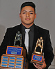 Bryan Aguilar of Oceanside poses for a portrait after winning the Piner Award, given annually to the most outstanding linebacker in Nassau County, at the NCHSFCA Gridiron Banquet at Crest Hollow Country Club in Woodbury on Wednesday, Dec. 6, 2017.