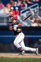 Batavia Muckdogs Jarett Rindfleisch (44) at bat during a game against the Auburn Doubledays on September 5, 2016 at Dwyer Stadium in Batavia, New York.  Batavia defeated Auburn 4-3. (Mike Janes/Four Seam Images)