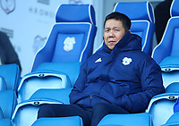 29th February 2020; Cardiff City Stadium, Cardiff, Glamorgan, Wales; English Championship Football, Cardiff City versus Brentford; Cardiff City CEO Ken Choo watches on from the stands