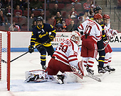 Sami Tavernier (Merrimack - 25), Jake Oettinger (BU - 29), Gabriel Chabot (BU - 10), Hampus Gustafsson (Merrimack - 20), Jonathan Lashyn (Merrimack - 7) - The visiting Merrimack College Warriors defeated the Boston University Terriers 4-1 to complete a regular season sweep on Friday, January 27, 2017, at Agganis Arena in Boston, Massachusetts.The visiting Merrimack College Warriors defeated the Boston University Terriers 4-1 to complete a regular season sweep on Friday, January 27, 2017, at Agganis Arena in Boston, Massachusetts.