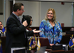 Nevada Sen. Ben Kieckhefer, R-Reno, introduces guests on the Senate floor at the Legislative Building in Carson City, Nev., on Thursday, Feb. 28, 2013..Photo by Cathleen Allison
