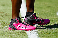 October 02, 2011:   Pink football shoes to commemorate NFL Breast Awareness Week in a game between the Jacksonville Jaguars and the New Orleans Saints at EverBank Field in Jacksonville, Florida.  New Orleans defeated Jacksonville 23-10.........