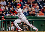 26 September 2018: Washington Nationals outfielder Juan Soto hits a double in the 6th inning against the Miami Marlins at Nationals Park in Washington, DC. The Nationals defeated the visiting Marlins 9-3, closing out Washington's 2018 home season. Mandatory Credit: Ed Wolfstein Photo *** RAW (NEF) Image File Available ***