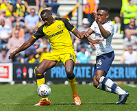 Burton Albion's Lucas Akins shields the ball from Preston North End's Darnell Fisher<br /> <br /> Photographer Alex Dodd/CameraSport<br /> <br /> The EFL Sky Bet Championship - Preston North End v Burton Albion - Sunday 6th May 2018 - Deepdale Stadium - Preston<br /> <br /> World Copyright &copy; 2018 CameraSport. All rights reserved. 43 Linden Ave. Countesthorpe. Leicester. England. LE8 5PG - Tel: +44 (0) 116 277 4147 - admin@camerasport.com - www.camerasport.com