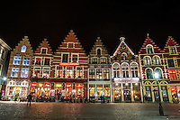 Colorful Storefronts on Bruges, Belgium at Night
