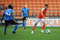 Blackpool's Ethan Robson under pressure from Swindon Town's Anthony Grant<br /> <br /> Photographer Kevin Barnes/CameraSport<br /> <br /> The EFL Sky Bet League One - Blackpool v Swindon Town - Saturday 19th September 2020 - Bloomfield Road - Blackpool<br /> <br /> World Copyright © 2020 CameraSport. All rights reserved. 43 Linden Ave. Countesthorpe. Leicester. England. LE8 5PG - Tel: +44 (0) 116 277 4147 - admin@camerasport.com - www.camerasport.com