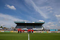 Fleetwood players inspect the pitch ahead of the Sky Bet League 1 match between Bristol Rovers and Fleetwood Town at the Memorial Stadium, Bristol, England on 26 August 2017. Photo by Mark  Hawkins.