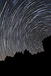 Indian Cove Campground, Joshua Tree National Park, Twenty Nine Palms, California; star trails above the rock formations on a moonless night