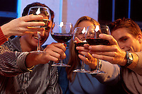 Smiling young couples socializing and toasting with wine glasses.