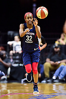 Washington, DC - June 15, 2018: Washington Mystics guard Shatori Walker-Kimbrough (32) passes the ball during game between the Washington Mystics and Chicago Sky at the Capital One Arena in Washington, DC. (Photo by Phil Peters/Media Images International)