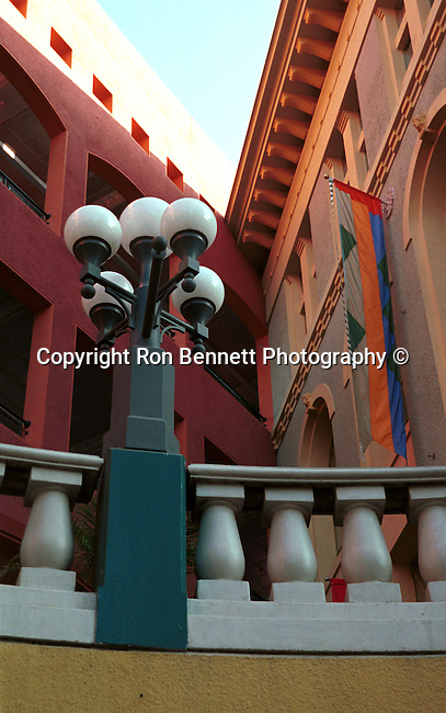 San Diego Skyline art lamp post and building colors California, California Fine Art and Stock Photography by Ron Bennett,