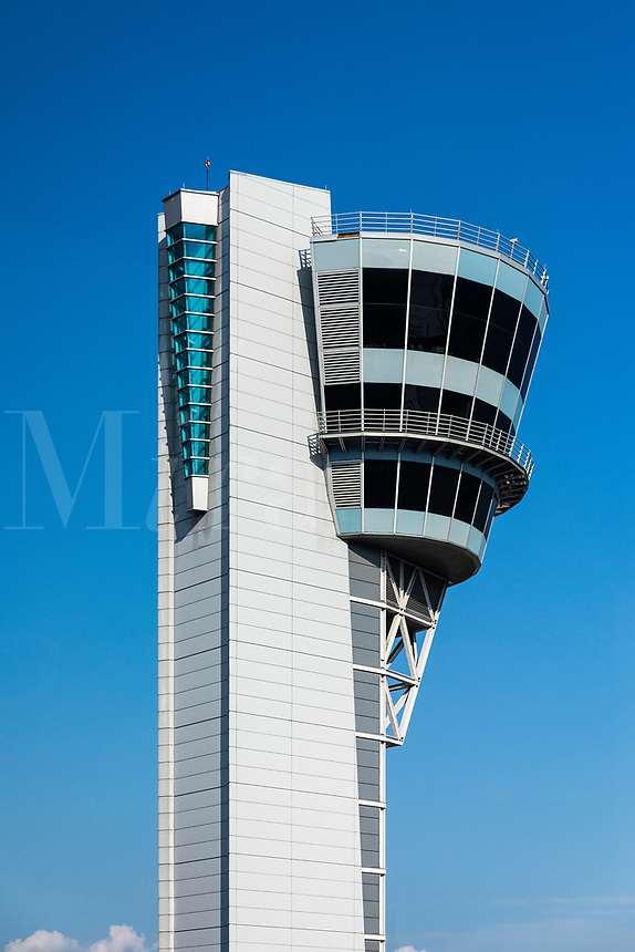 Air traffic control tower, Philadelphia International Airport, USA.