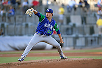 Starting pitcher Austin Cox (34) of the Lexington Legends delivers a pitch in a game against Columbia Fireflies on Friday, June 14, 2019, at Segra Park in Columbia, South Carolina. Lexington won, 5-1. (Tom Priddy/Four Seam Images)