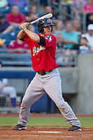 Frisco RoughRiders designated hitter Pat Cantwell (12) at bat during the Texas League game against the Tulsa Drillers at ONEOK field on August 15, 2014 in Tulsa, Oklahoma  The RoughRiders defeated the Drillers 8-2.  (William Purnell/Four Seam Images)