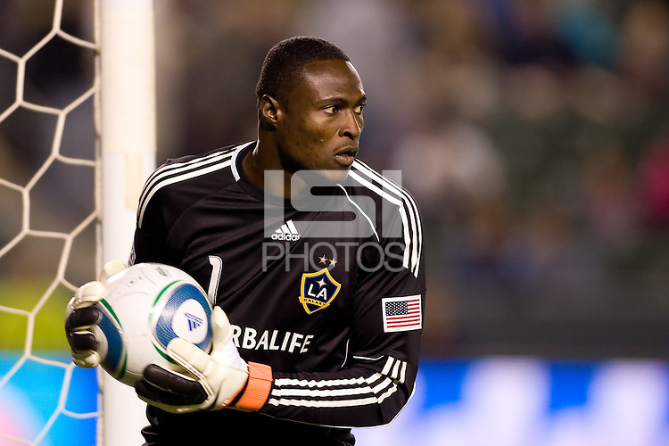 LA Galaxy goalkeeper Donovan Ricketts keeps the ball in play. The Kansas City Wizards beat the LA Galaxy 2-0 at Home Depot Center stadium in Carson, California on Saturday August 28, 2010.