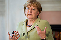 La Cancelliera Tedesca Angela Merkel durante la conferenza stampa al termine del vertice tra Italia, Spagna, Francia e Germania a Villa Madama..German Chancellor Angela Merkel attends a media conference at the end of a meeting with Italian Prime Minister Mario Monti, French Prime Minister Francois Hollande and Spanish Premier Mariano Rajoy at Villa Madama in Rome.