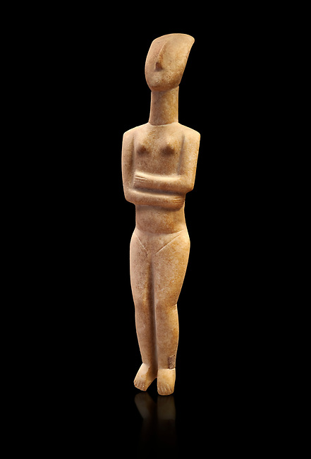 Marble female Cycladic statue figurine with folded arms of the Spedos type. Early Cycladic Period II (2800-2300 BC) from Naxos, Cat No 6195. National Archaeological Museum, Athens. Black background.<br /> <br /> This Cycladic statue figurine is of the Spedos type standing on tip tie with bended knees and arms folded under the breasts with head raiised.