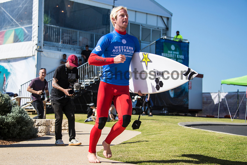 MARGARET RIVER, Western Australia/AUS (Saturday, April 1, 2017) Nat Young (USA) - After further assessment of the conditions on offer the event officials called men's Rounds 3 and 4 of the Drug Aware Margaret River Pro ON with an 8:45 a.m. start at Main Break in clean eight-to-ten foot plus conditions. The event had switched from the previously communicated venue, The Box, due to an unfavorable swell period.<br /> <br /> &ldquo;We have kept a close eye on the conditions at The Box and have realised it is not as ideal as we first thought,&rdquo; said WSL Deputy Commissioner Renato Hickel. &ldquo;The Box is a wave that works best on a short period large swell. The period today is quite long and is causing the wave to break in the wrong spot. Unfortunately, it isn&rsquo;t contestable for our athletes so we will move back to Main Break. The good news is that there are some sets in the 10-to-12 foot range at Main Break so regardless of our move, it&rsquo;s going to be a spectacular day of surfing.&rdquo;<br />  Photo: joliphotos.com