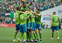 SEATTLE, WA - NOVEMBER 10: The Seattle Sounders celebrate after defender Kelvin Leerdam #18 scored a goal during a game between Toronto FC and Seattle Sounders FC at CenturyLink Field on November 10, 2019 in Seattle, Washington.