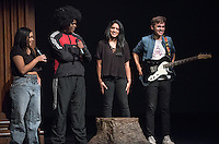 Apollo Night hosts Nina Reynoso '16 and Chance Ward '18 introduce Divya Sarathy '16 and Micah Garrido '17. Occidental College students perform and compete during Apollo Night, one of Oxy's biggest talent showcases, on Friday, Feb. 26, 2016 in Thorne Hall. Sponsored by ASOC, hosted by the Black Student Alliance as part of Black History Month.<br /> (Photo by Marc Campos, Occidental College Photographer)