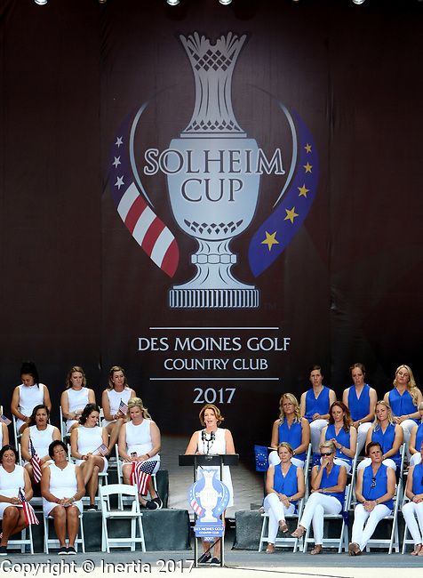 DES MOINES, IA - AUGUST 17: United States captain Juli Inkster addresses the crowd during the opening ceremony at the 2017 Solheim Cup in Des Moines, IA. (Photo by Dave Eggen/Inertia)