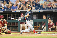 Texas Tech Red Raiders second baseman Brian Klein (5) follows through on his swing during Game 9 of the NCAA College World Series against the Florida State Seminoles on June 19, 2019 at TD Ameritrade Park in Omaha, Nebraska. Texas Tech defeated Florida State State 4-1. (Andrew Woolley/Four Seam Images)