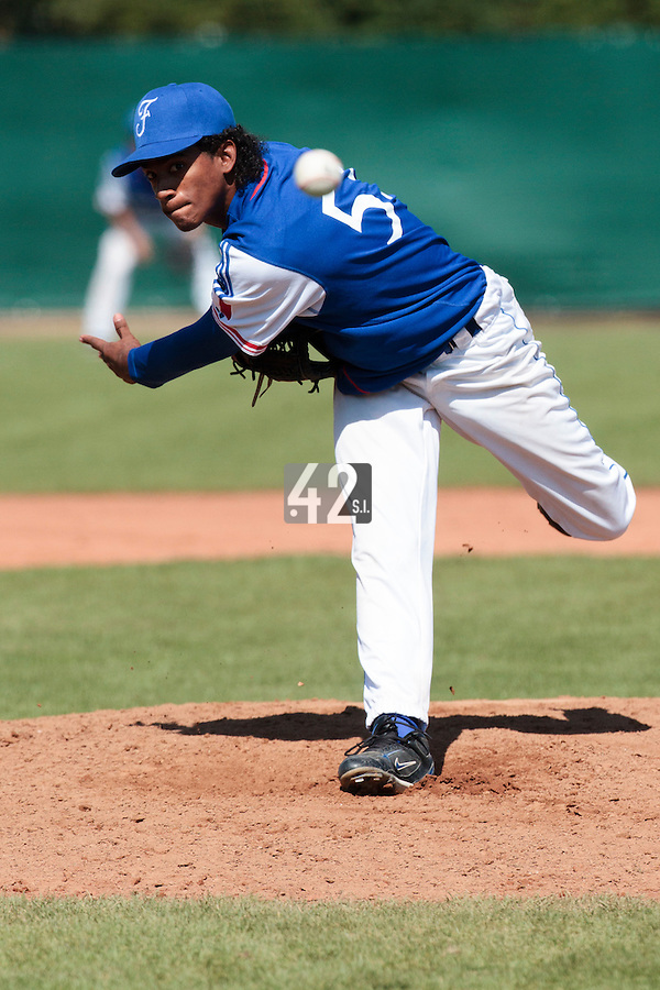 20 August 2010: David Van Heyningen of Team France pitches against Italy during France 6-5 win over Italy, at the 2010 European Championship, under 21, in Brno, Czech Republic.