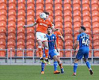 Blackpool's Oliver Turton heads clear from Rochdale's Jordan Williams<br /> <br /> Photographer Stephen White/CameraSport<br /> <br /> The EFL Sky Bet League One - Blackpool v Rochdale - Saturday 6th October 2018 - Bloomfield Road - Blackpool<br /> <br /> World Copyright © 2018 CameraSport. All rights reserved. 43 Linden Ave. Countesthorpe. Leicester. England. LE8 5PG - Tel: +44 (0) 116 277 4147 - admin@camerasport.com - www.camerasport.com