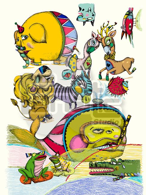 Illustration of various wild animals