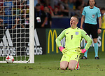 England's Jordan Pickford looks on dejected after losing on penalties during the UEFA Under 21 Semi Final at the Stadion Miejski Tychy in Tychy. Picture date 27th June 2017. Picture credit should read: David Klein/Sportimage