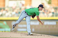 Gwinnett Braves starting pitcher Kyle Wright (30) follows through on his delivery against the Charlotte Knights at BB&T BallPark on July 12, 2019 in Charlotte, North Carolina. The Stripers defeated the Knights 9-3. (Brian Westerholt/Four Seam Images)