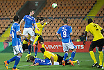 Alashkert FC v St Johnstone...02.07.15   Republican Stadium, Yerevan, Armenia....UEFA Europa League Qualifier.<br /> Tam Scobbie's late header misses the target<br /> Picture by Graeme Hart.<br /> Copyright Perthshire Picture Agency<br /> Tel: 01738 623350  Mobile: 07990 594431