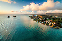 A morning view of Lanikai Beach and neighborhood, with the Mokulua Islets (or Na Mokulua) on the left, Windward O'ahu.