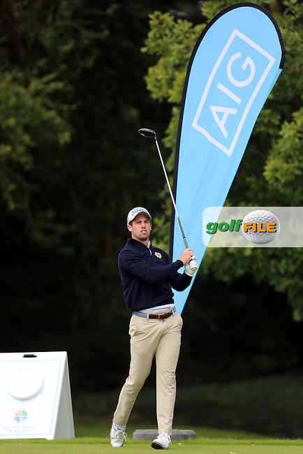 Alex Gleeson (Castle) on the 1st tee during the final of the AIG Senior Cup at Carton House.17/9/16<br /> Picture: Golffile | Jenny Matthews<br /> <br /> <br /> All photo usage must carry mandatory copyright credit (&copy; Golffile | Jenny Matthews)