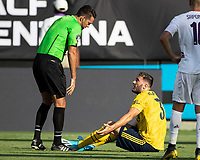 CHARLOTTE, NC - JULY 20: Sead Kolasinac #31 argues with the referee after a foul during a game between ACF Fiorentina and Arsenal at Bank of America Stadium on July 20, 2019 in Charlotte, North Carolina.