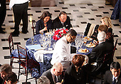 "Washington, DC - January 20, 2009 -- United States Senator Daniel Inouye (Democrat of Hawaii), top center, sitting beside his wife Irene, finishes eating at a luncheon for President Barack Obama at Statuary Hall in the U.S. Capitol  in Washington, Tuesday, January 20, 2009. Sharing the table with Senator Inouye were United States Senator Robert Bird (Democrat of West Virginia) and United State Senator Edward M. ""Ted"" Kennedy (Democrat of Massachusetts). Both had to leave the luncheon due to health reasons. .Credit: Lawrence Jackson - Pool via CNP"