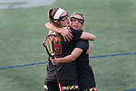 Maryland's Kali Hartshorn (16) is congratulated on her second goal by Jen Giles, rear, against Penn State on April 20, 2017. No. 1 Maryland defeated No. 5 Penn State 16-14.  Photo/Craig Houtz
