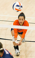 NWA Democrat-Gazette/BEN GOFF @NWABENGOFF<br /> Berenice Morales, Rogers Heritage libero, makes a dig in the 2nd set vs Bentonville West Thursday, Sept. 13, 2018, at War Eagle Arena in Rogers.