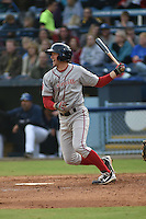 Greenville Drive first baseman Jantzen Witte #35 swings at a pitch during a game against the  Asheville Tourists at McCormick Field on May 17, 2014 in Asheville, North Carolina. The Tourists defeated the Drive 14-6. (Tony Farlow/Four Seam Images)