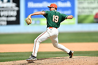 Greensboro Grasshoppers pitcher Sam Perez (19) delivers a pitch during a game against the Asheville Tourists at McCormick Field on April 30, 2017 in Asheville, North Carolina. The Grasshoppers defeated the Tourists 7-0. (Tony Farlow/Four Seam Images)