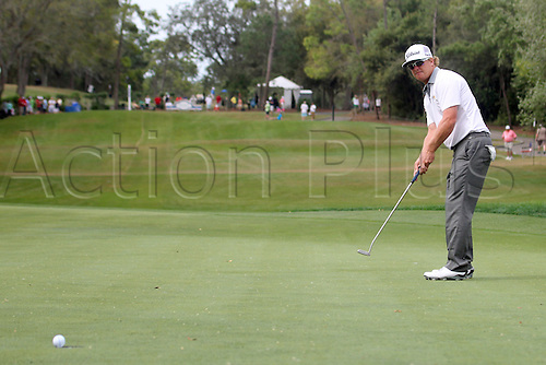 16.03.2014. Palm Harbor, Florida, USA.  Charley Hoffman rolls in a long putt for a birdie on the 8th hole during the final round of the Valspar Championship at Innisbrook Resort - Copperhead in Palm Harbor, Florida.